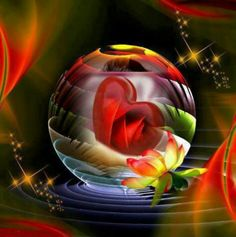 rainbow crystal ball with heart